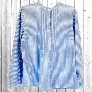 Pintuck 100% Cotton Blouse LL Bean Blue Stripe Top